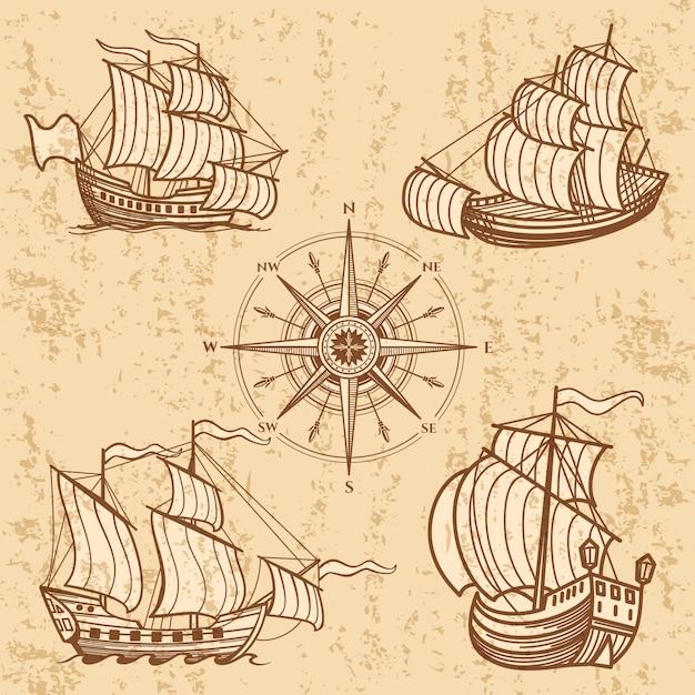 Coleção de navios vintage. conjunto antigo de barco de viagem Vetor Premium
