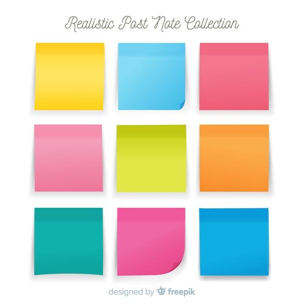 Coleção de nove pós-notas em estilo realista Vetor Premium