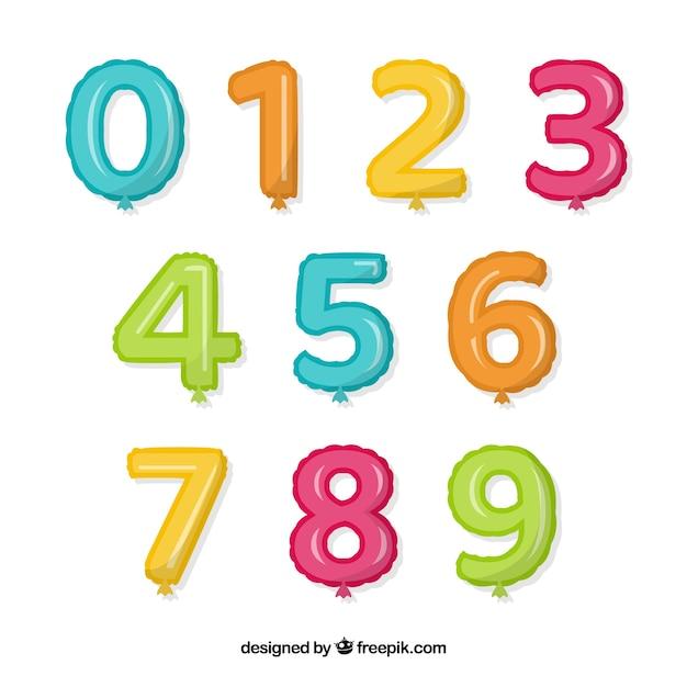Coleção de número de balão colorido Vetor grátis