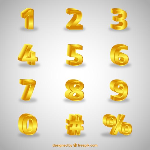 Coleção de números 3d Vetor grátis