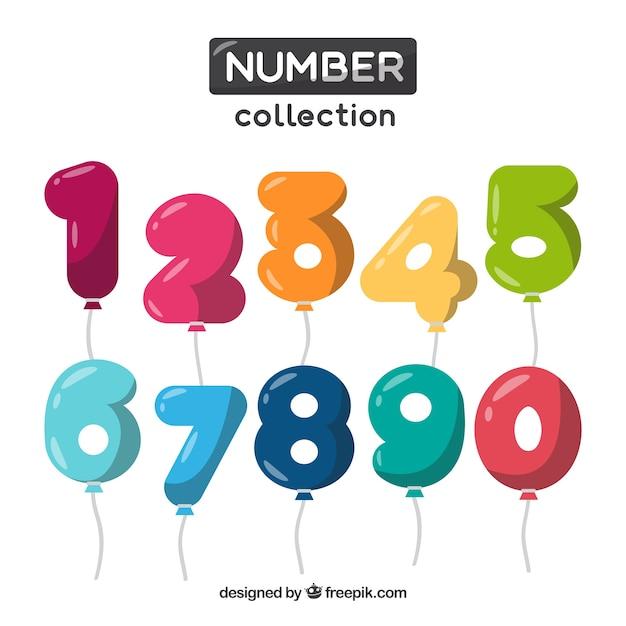 Coleção de números como balões Vetor grátis