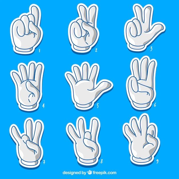 Coleção de números de dedo dos desenhos animados Vetor grátis