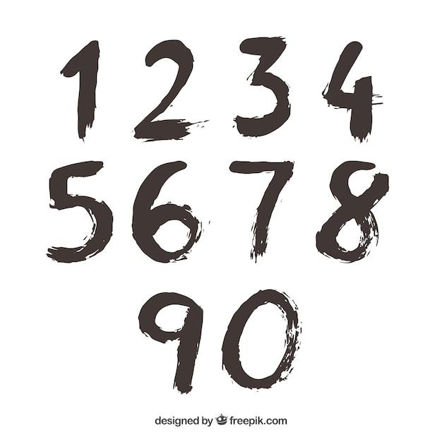 Coleção de números de tinta Vetor grátis