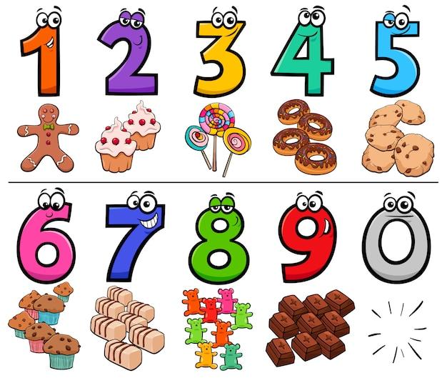 Coleção de números dos desenhos animados com objetos de comida doce Vetor Premium