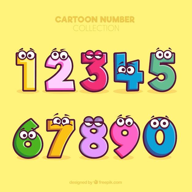 Coleção de números dos desenhos animados com personagens Vetor grátis