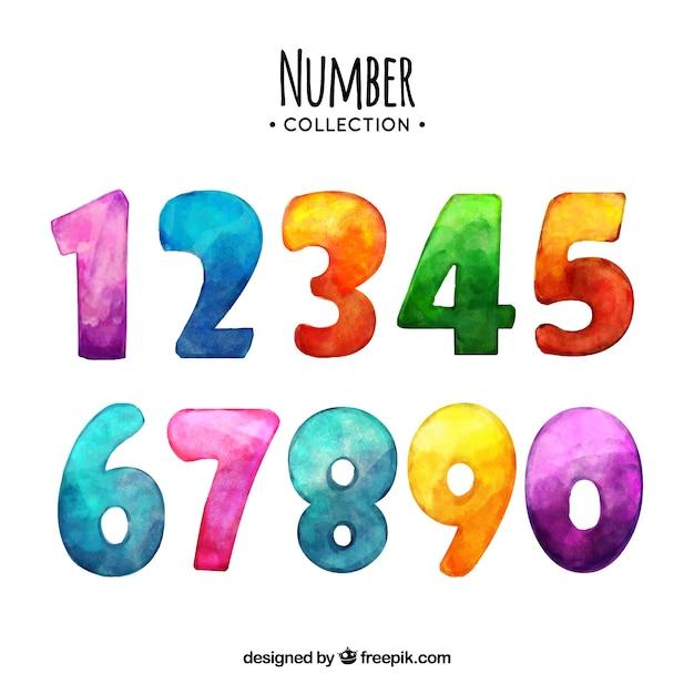 Coleção de números em aquarela Vetor grátis