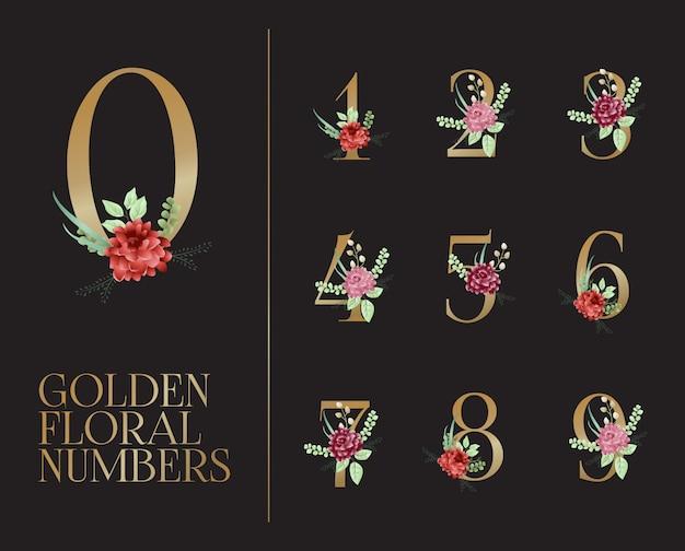 Coleção de números florais dourados Vetor Premium