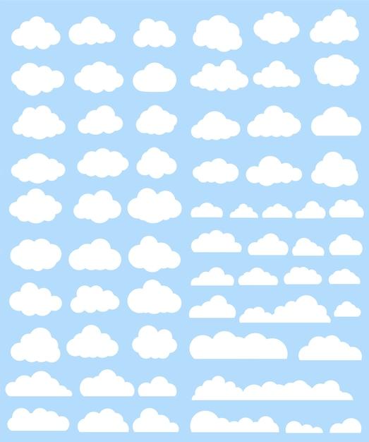 Coleção de nuvens brancas Vetor grátis