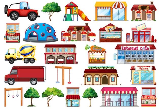 Coleção de objetos casas e transporte Vetor grátis