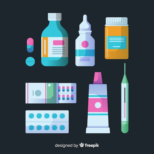 Coleção de objetos de farmacêutico plana Vetor grátis