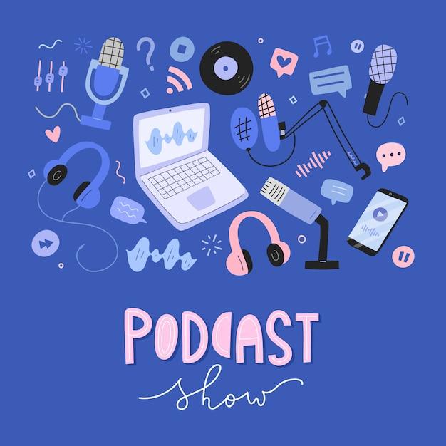 Coleção de objetos de podcast, ferramentas e equipamentos para transmissão, ilustrações de mão desenhada Vetor Premium