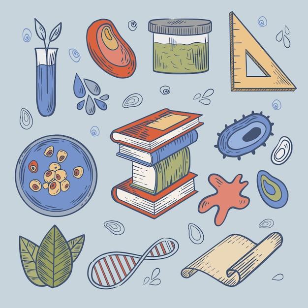 Coleção de objetos e bactérias do laboratório de ciências Vetor grátis