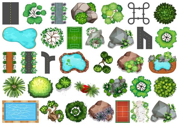 Coleção de objetos temáticos da natureza ao ar livre e elementos de plantas Vetor grátis