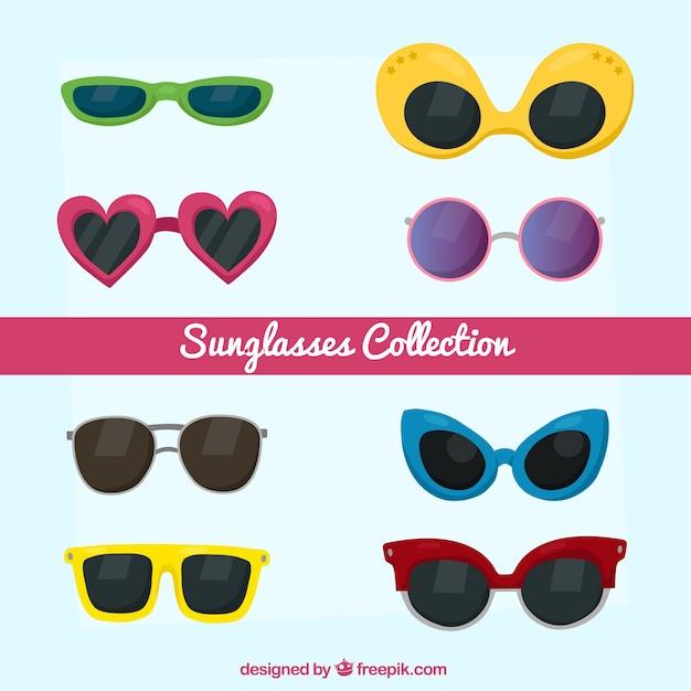 Coleção de óculos de sol sazonais em syle plana Vetor grátis