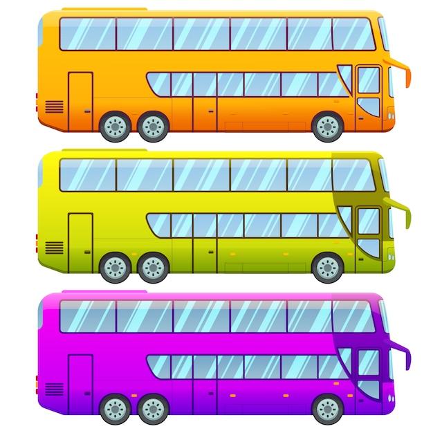 Coleção de ônibus turísticos de dois andares Vetor grátis
