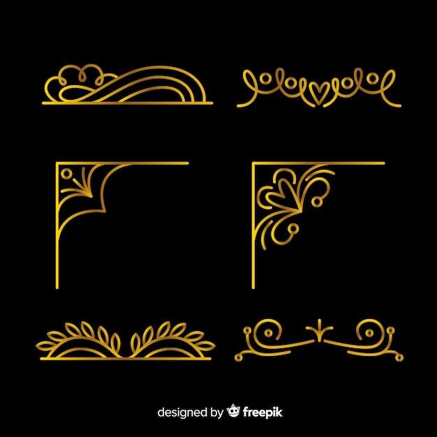 Coleção de ornamento de borda dourada Vetor Premium