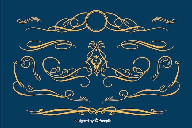 Coleção de ornamento de borda dourada Vetor grátis