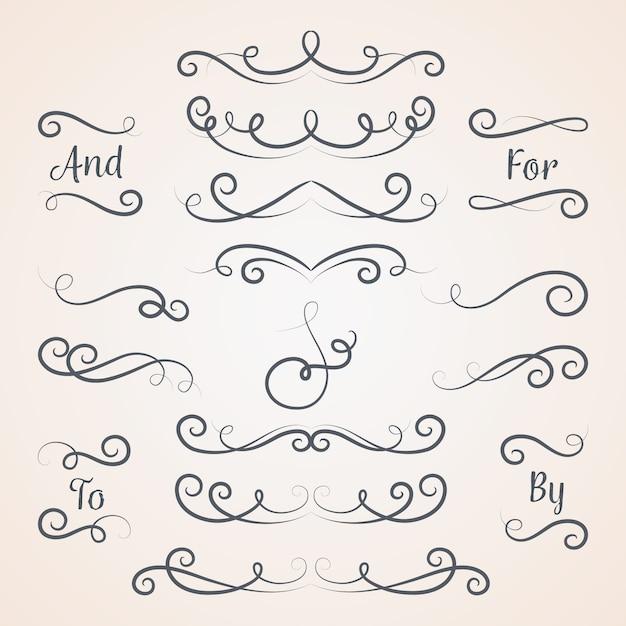 Coleção de ornamento de casamento caligráfico Vetor grátis