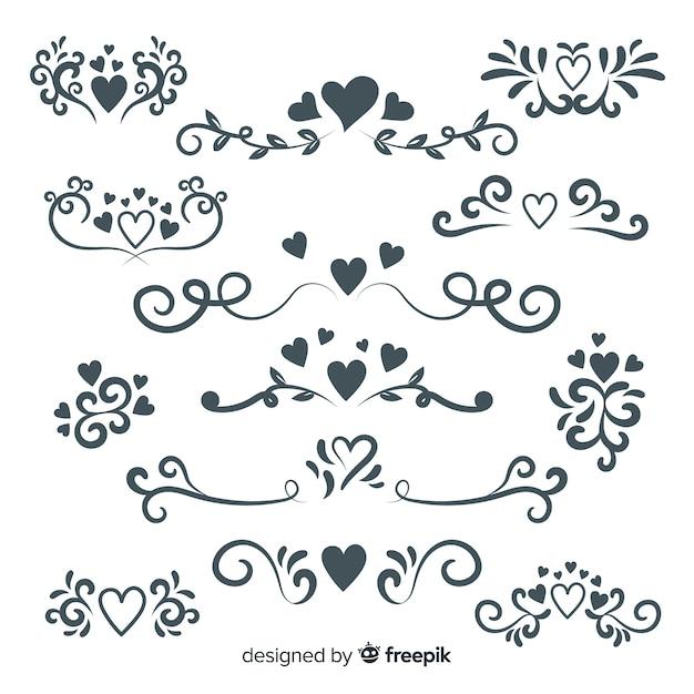 Coleção de ornamento de casamento mão desenhada Vetor grátis