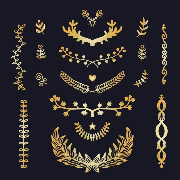 Coleção de ornamento de luxo dourado Vetor grátis