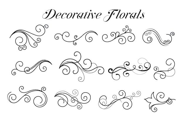 Coleção de ornamentos florais redemoinhos decorativos Vetor grátis