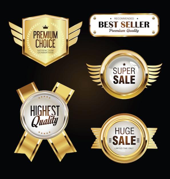Coleção de ouro emblemas e etiquetas retro vintage design Vetor Premium