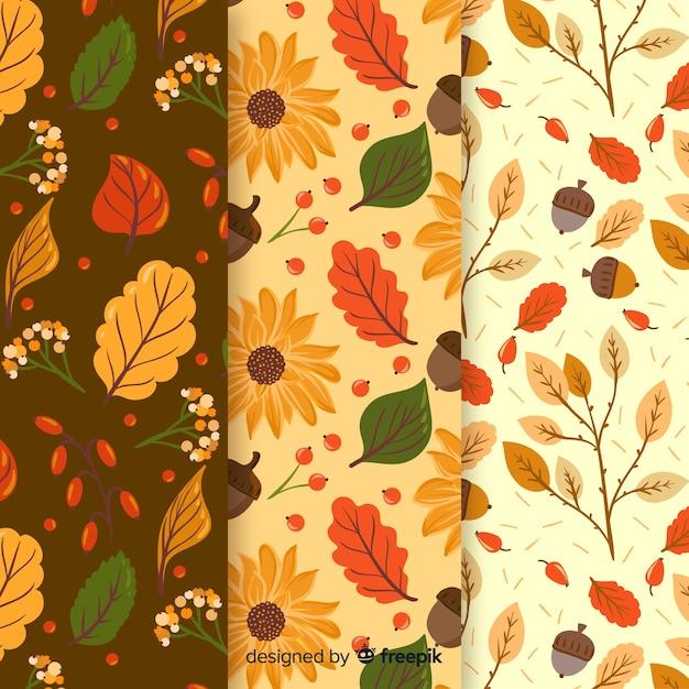 Coleção de outono plana padrão com folhas Vetor grátis