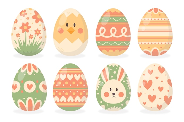 Coleção de ovo de páscoa desenhada de mão Vetor grátis