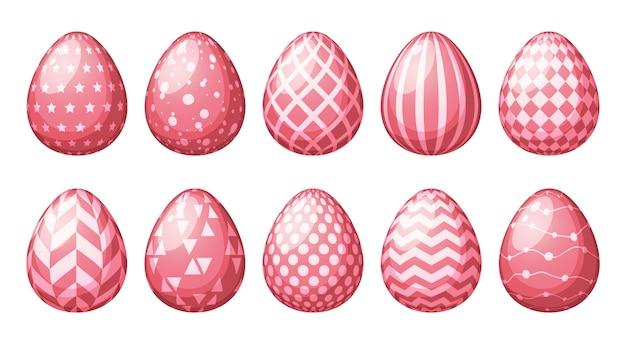 Coleção de ovos com padrões geométricos. Vetor Premium