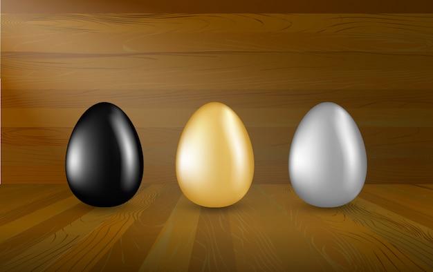 Coleção de ovos de ouro, prata e pretos em fundo de madeira. conjunto de ovos de páscoa em show room de madeira, conceito de investimento. Vetor Premium