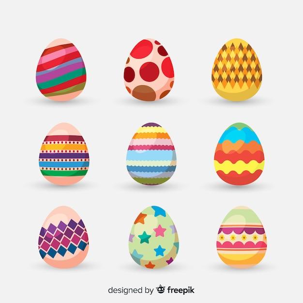 Coleção de ovos de páscoa coloridos Vetor grátis