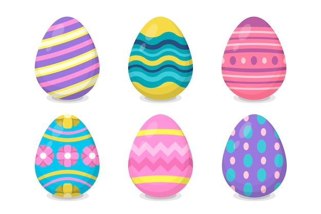 Coleção de ovos de páscoa de design plano Vetor Premium