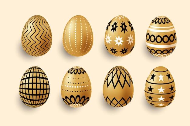 Coleção de ovos de páscoa dia dourado Vetor grátis