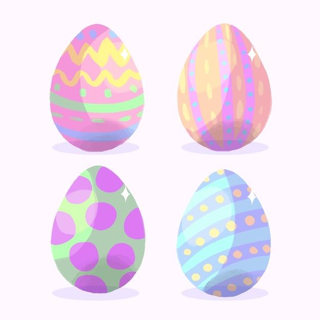 Coleção de ovos de páscoa em aquarela Vetor grátis