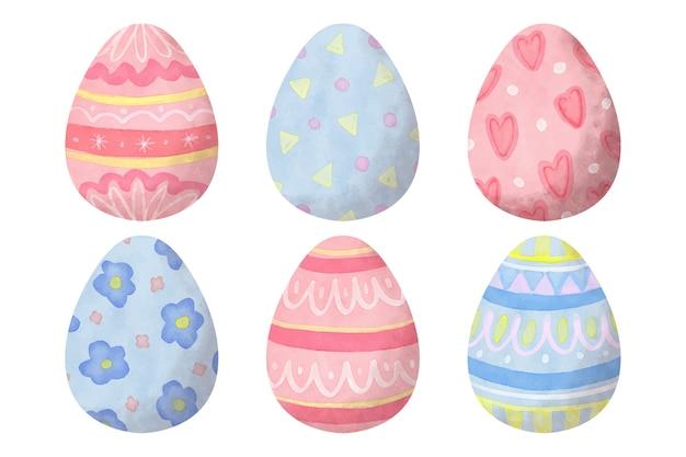 Coleção de ovos de páscoa estilo aquarela Vetor grátis