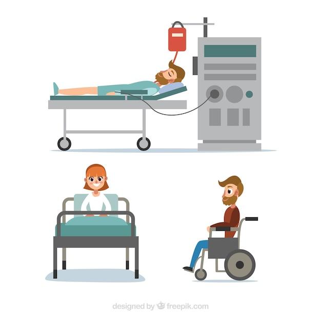 Coleção de pacientes doentes Vetor grátis