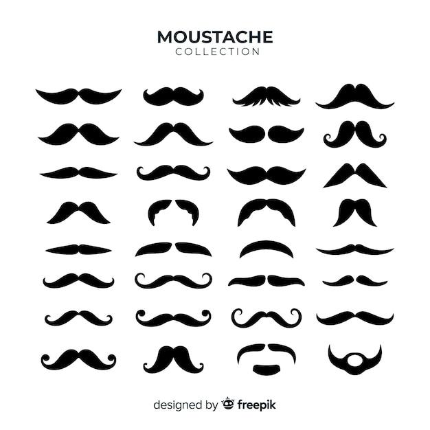 Coleção de pacote de bigode movember em design plano Vetor grátis
