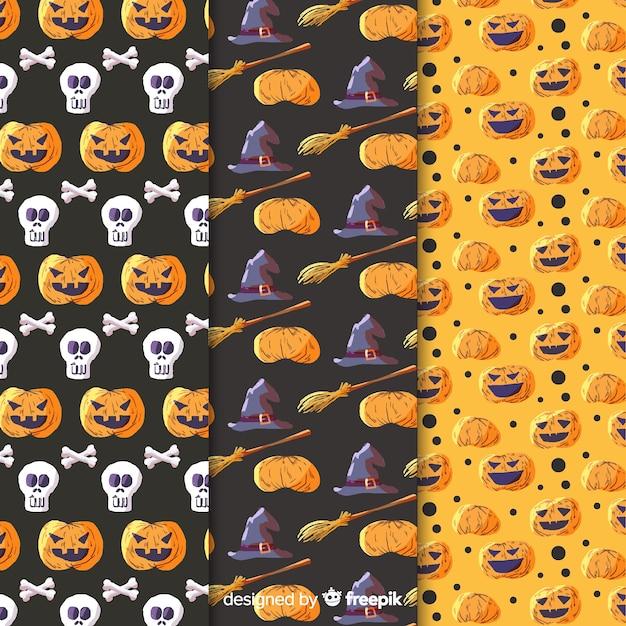 Coleção de padrão aquarela de elementos de halloween Vetor grátis