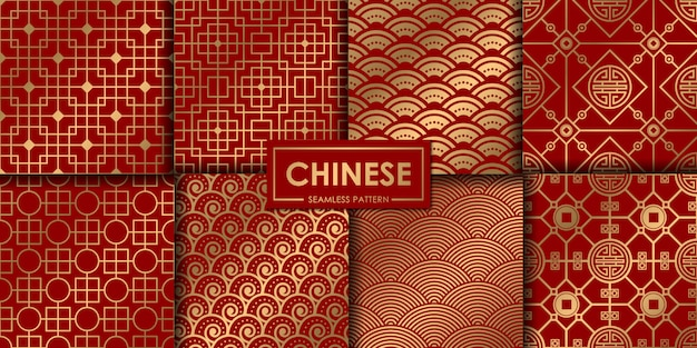 Coleção de padrão chinês dourado Vetor Premium