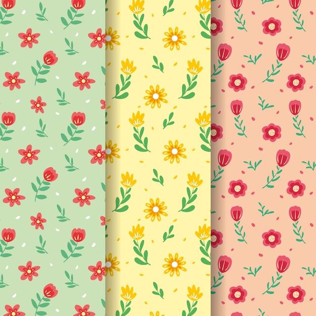 Coleção de padrão colorido campo pequenas flores primavera Vetor grátis