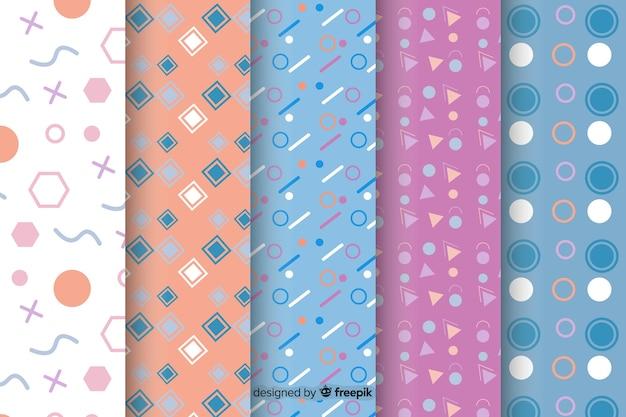 Coleção de padrão colorido de memphis Vetor grátis