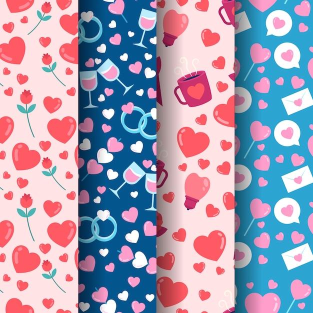 Coleção de padrão colorido dia dos namorados em design plano Vetor grátis