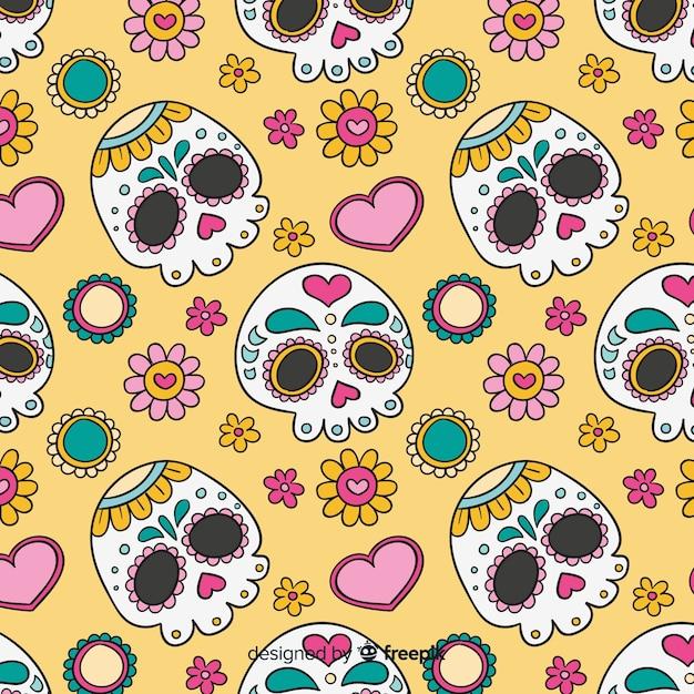 Coleção de padrão colorido mÃo desenhada dia de muertos Vetor grátis