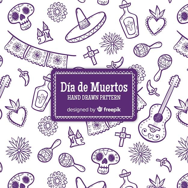Coleção de padrão colorido mão desenhada día de muertos Vetor grátis