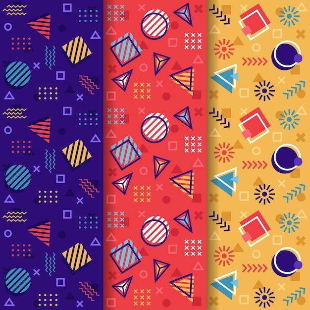 Coleção de padrão colorido sem costura memphis Vetor grátis