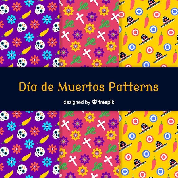 Coleção de padrão criativo día de muertos Vetor grátis