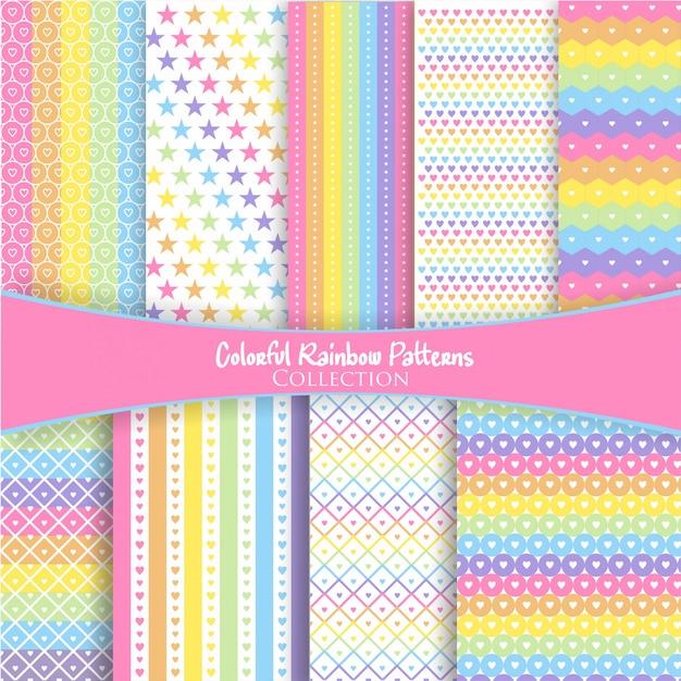 Coleção de padrão de arco-íris colorido Vetor Premium
