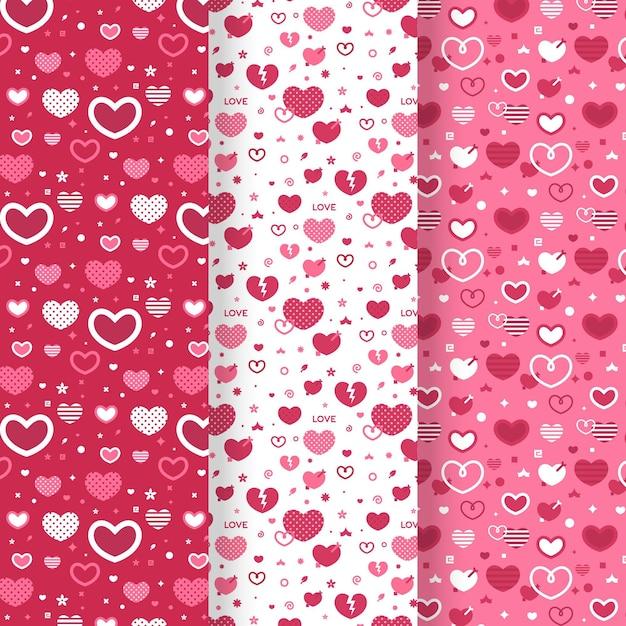 Coleção de padrão de coração em design plano Vetor grátis