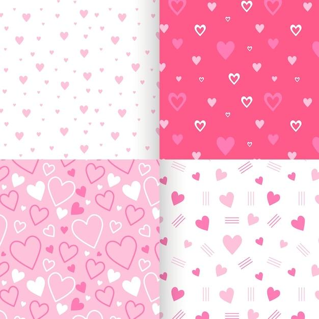 Coleção de padrão de coração liso Vetor Premium