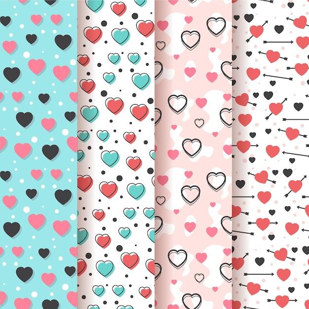 Coleção de padrão de coração liso Vetor grátis